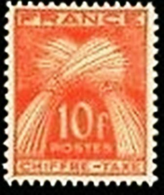 """FRANCE STAMP TIMBRE TAXE N° 76 """" GERBES 10F ROUGE-ORANGE """" NEUF xx TTB"""