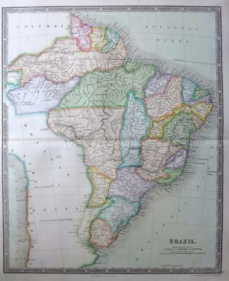 BRAZIL SOUTH AMERICA URUGUAY GUYANA  DOWER TEESDALE  ORIGINAL HAND COLOUR c1844