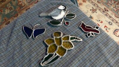Vintage BIRDS SF BF Stained Glass Art Light Catcher Window Hanging Lot Of 4 VG !