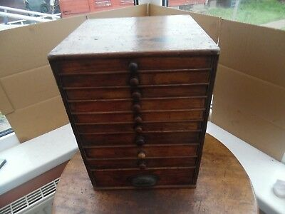 """Small Wooden Antique 10 Drawer Cabinet. Graduated Drawers 11"""" x 11"""" x 15 1/4"""" hi"""