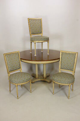 Baker Furniture Round Dining Table 2 Leaves & 3 Chairs French Provincial Vintage