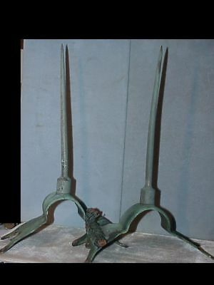 TWO Bronze Lightning Rods SPIKES Roof Mount Vintage Grounding DATED 1928