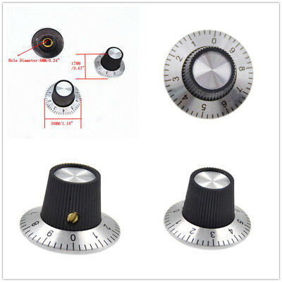 10PC Metal Knob Potentiometer Scale With Dial for 6mm Shaft Rotary Cap 0-9 Scale