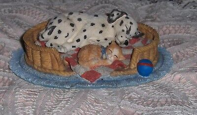 Vtg Hamilton Collection Spot Takes A Nap Dalmatian And Cat Figurine In Pet Bed