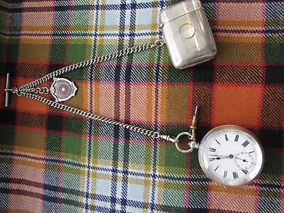 Antique Solid silver pocket watch with chain, fob and vesta case