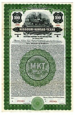 Missouri-Kansas-Texas Railroad Co., 1922 Specimen $100 gold Coupon Bond VF ABN