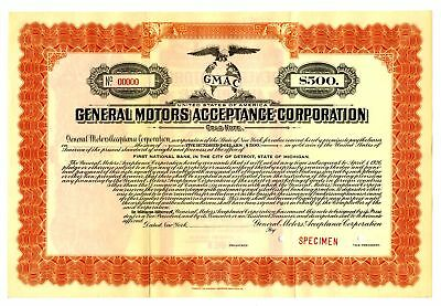 General Motors Acceptance Corp., 1926  $500 Specimen Bond Automobile Financing