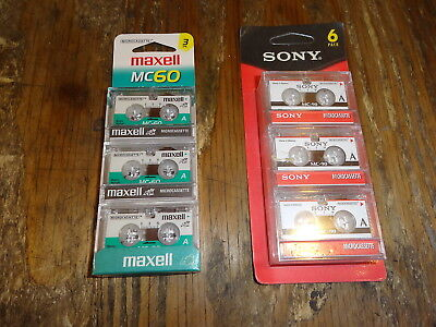 9 Microcassette Tapes 90 minutes   Sony Maxell *NEW*