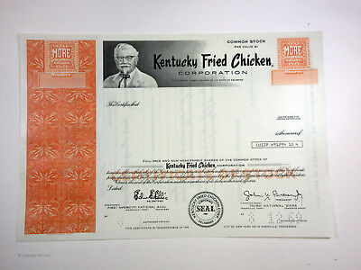 Kentucky Fried Chicken Corp. 1969 Specimen Stock Certificate >100 Shares XF FBN