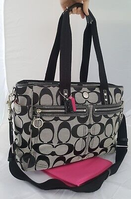 COACH DAISY BLACK/gray DIAPER BABY BAG messenger travel purse tote handbag 14871