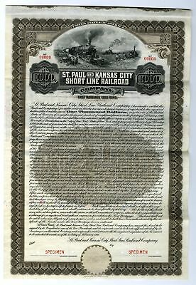 St. Paul and Kansas City Short Line Railroad Co., 1911 $1000 Specimen Gold Bond