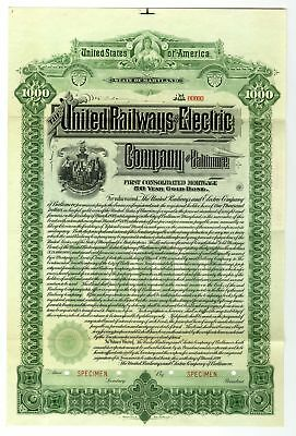 MD. United Railways & Electric Co. of Baltimore, 1899 $1000 Specimen Gold Bond