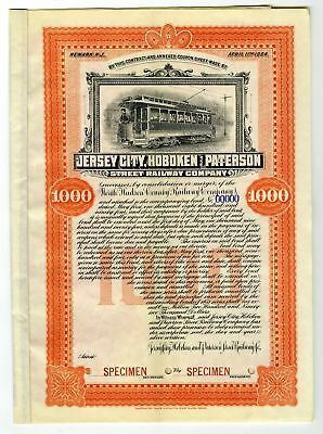 NJ. Jersey City, Hoboken & Paterson Street Railway Co., 1894 Specimen $1000 Bond