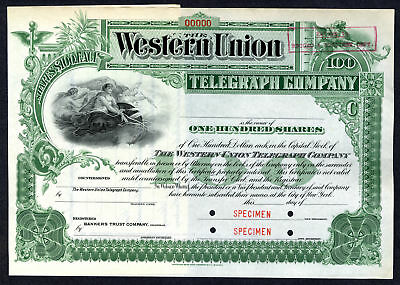 Western Union Telegraph Co ca.1900 Specimen Stock Certificate International ABNC