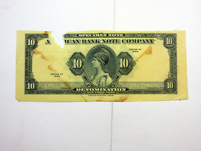 American Bank Note Series 1929 Specimen, Blue on Light Yellow Paper Rare Var.