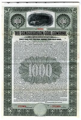 MD. Consolidation Coal Co 1910 $1000 Specimen 5% Coupon Gold Bond XF ABN