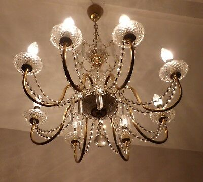 Gorgeous Vintage French 8-Arm Brass Chandelier with Crystal Swags and Spears