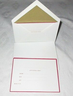 SMYTHSON 10 x INVITATION CARDS & GOLD LINED ENVELOPES Stationary PARTY INVITES