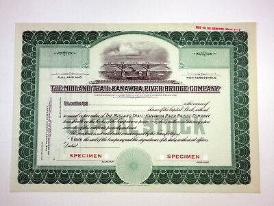 Midland Trail-Kanawha River Bridge Co., ca.1930-1940 Specimen Stock Certificate