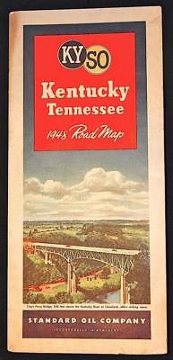 Standard Oil Comp. 1948 Road Map Kentucky Tennessee Great Cover Art