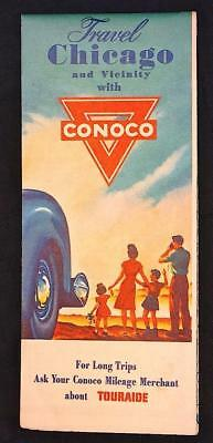 Conoco Chicago and Vicinity Road Map Great Cover Art and Advertising