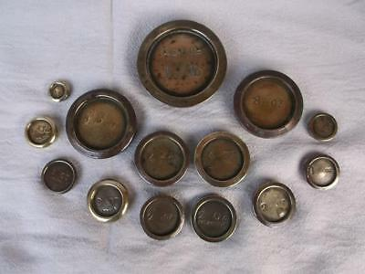 246 / QUANTITY OF OLD IMPERIAL BRASS WEIGHTS 1lb RIGHT DOWN TO 1/4 ONCE