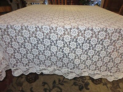 "Gorgeous Vintage Ivory Italian French Lace Tablecloth Floral Pattern 94"" X 60"""