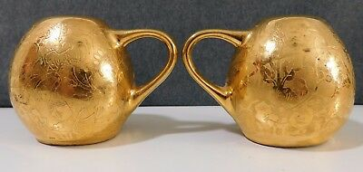 Vintage Gold Painted SALT and PEPPER Shaker Set with Handles Cork Stoppers