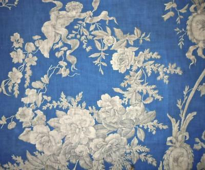 BEAUTIFUL 19th CENTURY FRENCH ROCOCO PRUSSIAN BLUE LINEN TOILE, ROSES