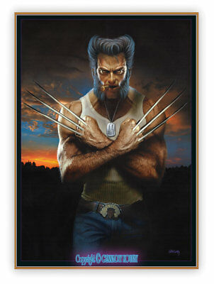 """SALE! KOUFAY ORIGINAL PAINTING * LOGAN * WOLVERINE ON 20""""x28"""" STRETCHED CANVAS"""