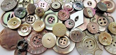 Beautiful Lot of 40+ Antique~ Vtg Carved MOP Shell BUTTONS LARGE Victorian++
