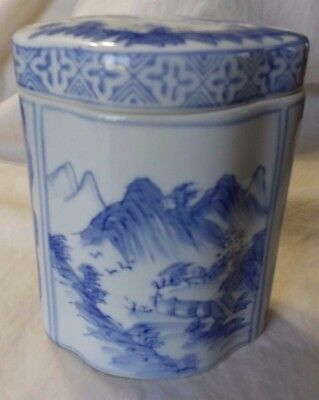 Pieyl ceramic pottery canister & lid, blue white mountains trees, made in China