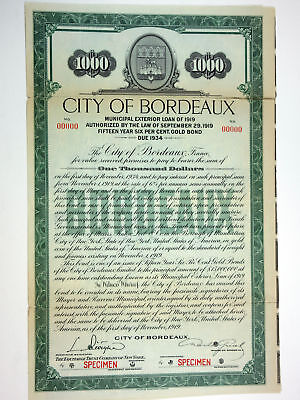 City of Bordeaux, 1919 Specimen Bond