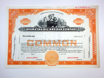 Hiawatha Oil and Gas Co., 1951 Specimen Stock Certificate