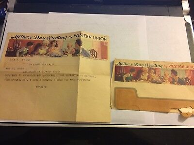 Western Union Vintage Telegram Mothers Day With Envelope Late 1930's