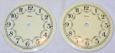 Lot 2 Heco Vintage Clock Porcelain Dial Face parts Repair Project AS IS 4 7/16""
