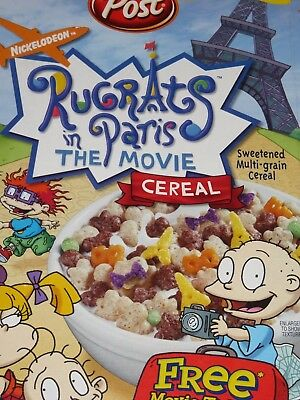 2001 Post RUGRATS IN PARIS Cereal Box Fun Busy Graphics Games on Back empty flat