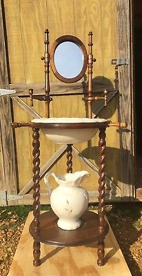 Vintage Wooden Wash Basin Stand w/ Candle Holder, Mirror, Pitcher and Bowl Set