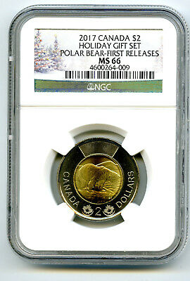 2017 Canada $2 Holiday Polar Bear Ngc Ms66 First Releases Toonie Rare Pop Just 9