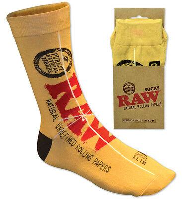RAW Rolling Papers SOCKS for your FEET! Classic King Size Slim Design ONE PAIR