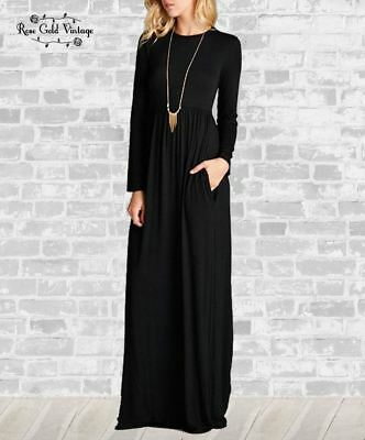 L Black 1X NWT Boutique Bellamie L//S Pocket Maxi Dress M XL S 2X /& 3X
