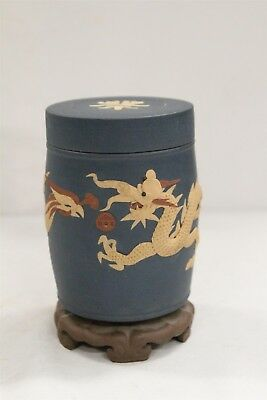 Chinese Yixing Phoenix Bird Dragon Lidded Faux Wood Base Pottery Tea Caddy Sign