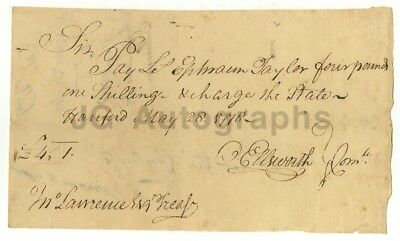Oliver Ellsworth - 3rd Supreme Court Chief Justice - Autographed 1778 Document