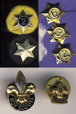 Vintage Boyscouts Scouts Canada Scouting Year Pins Stars + Collar Badges 7x