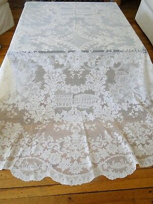 "Superb French Alencon 90"" Round Tablecloth With Scenes Of Venice"