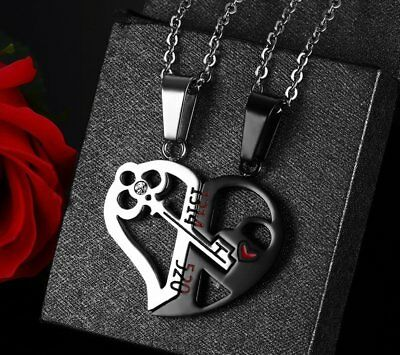 Stainless Steel Couple Love Heart Crystal Pendant Necklace Valentine's Day Gift