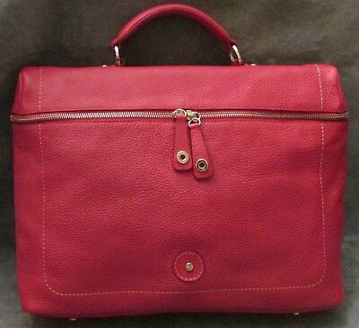 Lamarthe Paris Purse Laptop Briefcase Red Pebble Leather