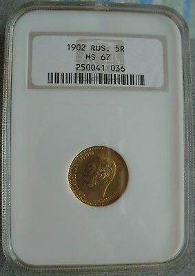 1902 Russian Gold 5 Roubles NGC MS-67
