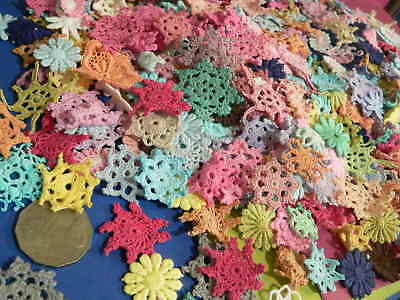 50pc tiny  mini cotton crochet medallions doilies and flower Rainbow Colours ast