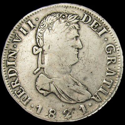 1821-Zs RG Mexico 8 Reales War of Independence Zacatecas Silver Coin - KM#111.5